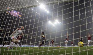 AC Milan's goalkeeper Abbiati reacts after Inter Milan's Palacio shoot to score during their Italian Serie A soccer match in Milan