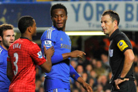 Mark Clattenburg, John Obi Mikel and Patrice Evra