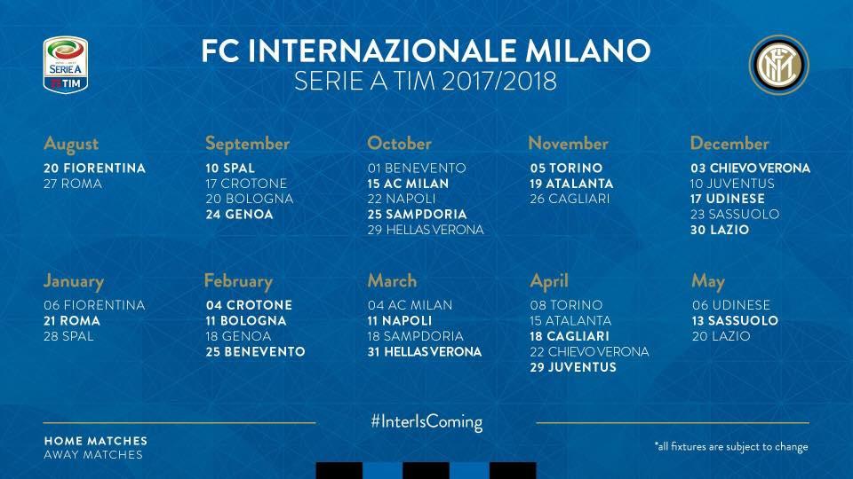 Calendario Inter Champions.Calendario Inter 2017 2018