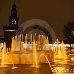 Milano, la fontana del castello sforzesco