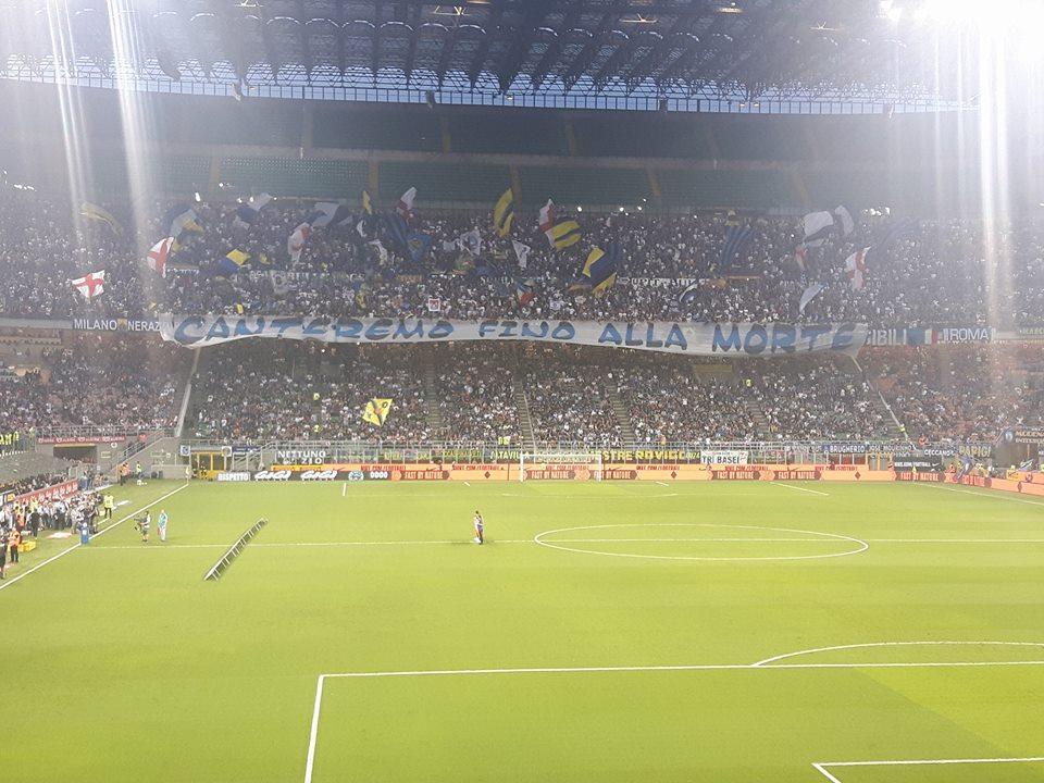 La curva dell'Inter contro il Sassuolo