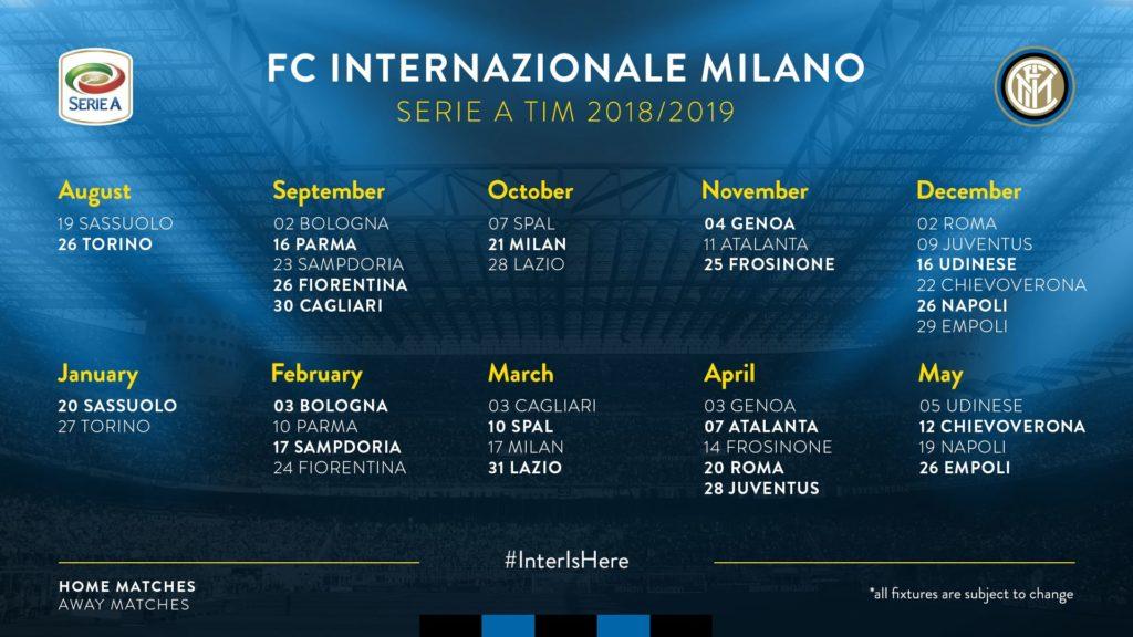 calendario Inter stagione 2019