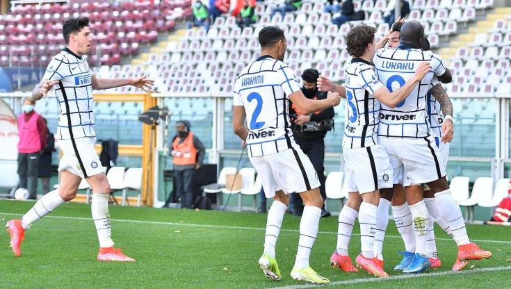 La gioia degli interisti dopo il gol di Lautaro al Torino